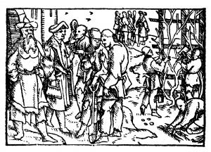 houtsnede uit 1537, gelijkenis van de arbeiders in de wijngaard